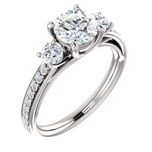 Round Three Stone Engagement Ring