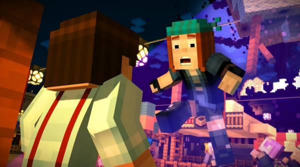 A promotional image from Minecraft: Story Mode, depicting the characters Jesse (a brown-haired white male) and Petra (a red-headed female). Petra is flying through the air, with a surprised expression on her face.