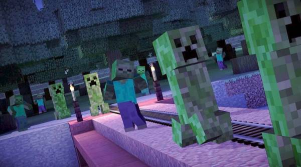 A promotional image from Minecraft: Story Mode depicting several creepers and a zombie, at night.