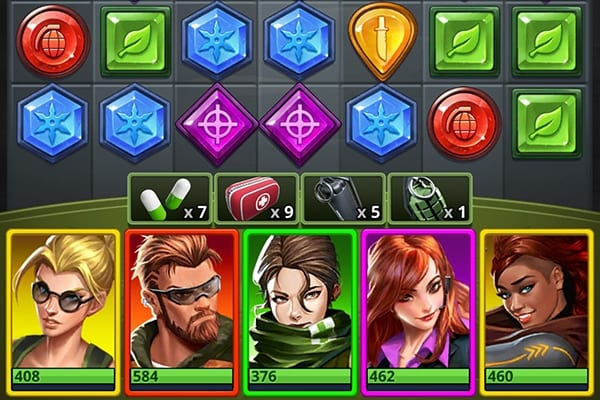 Puzzle Combat heroes and combat items