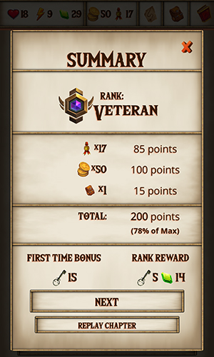 WarQuest chapter end screen