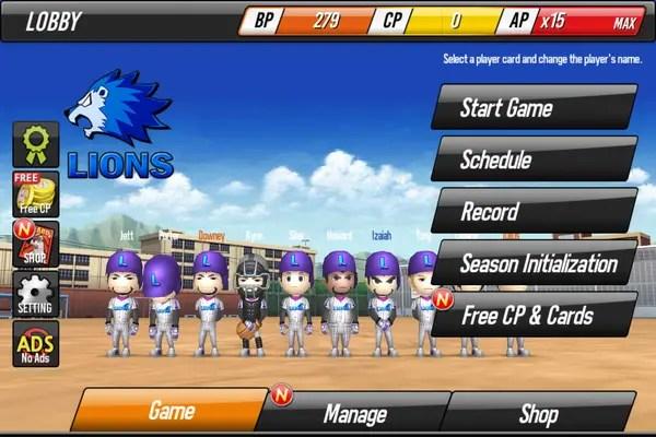 Android Baseball Star Main Menu