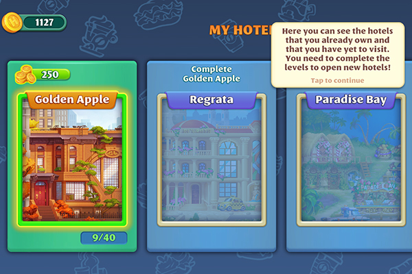 Android Grand Hotel Mania available hotels