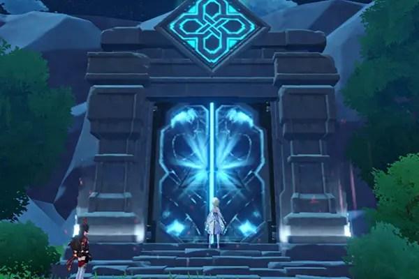 Genshin Impact entering a mini dungeon