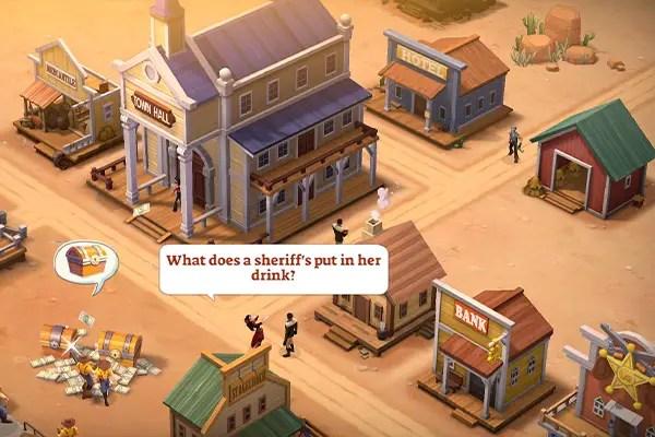 Settlers gossip in Wild West Heroes' frontier town