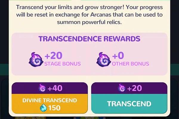 Masketeers Transcendence menu