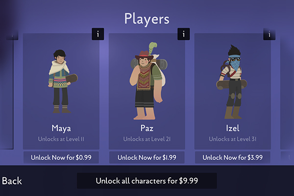 Alto's Odyssey unlockable characters