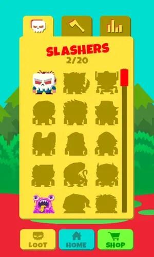 Slashy Camp Character Unlock Screen