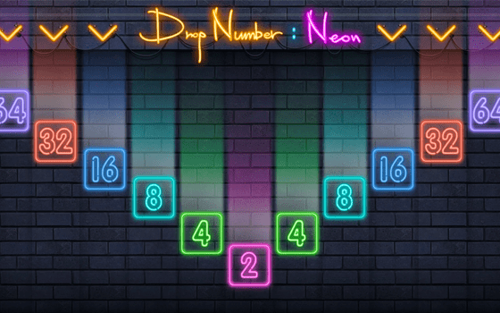 Drop Number Neon 2048 Title Screen