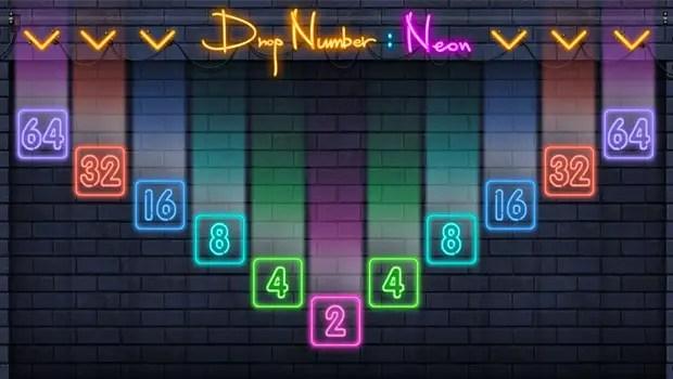 Drop Number Neon 2048 Title Screen