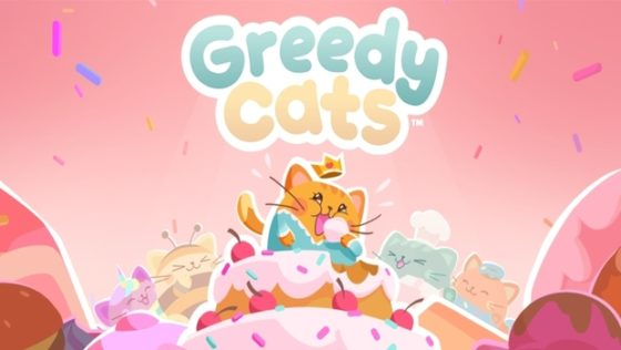 Greedy Cats Cat Eating Logo