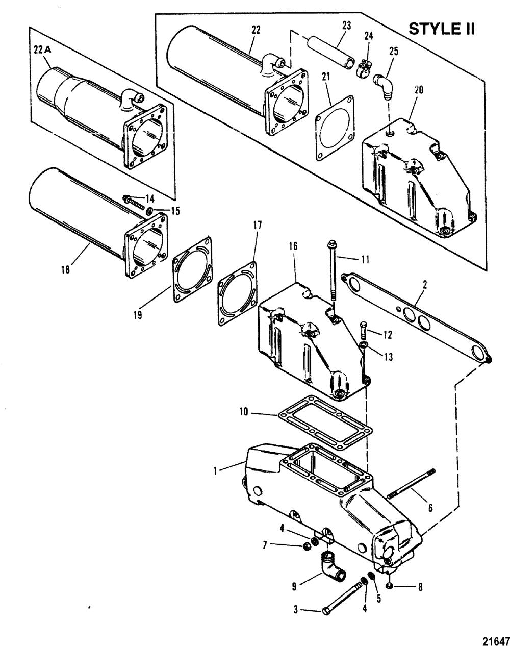 medium resolution of 420 gm 454 v8 1987 1989 serial 0a398941 thru 0b622418 exhaust manifold elbow mercruiser system