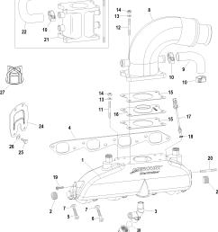 496 mag base model serial 0m687083 thru 0w059999 exhaust manifold elbow and riser [ 1897 x 2306 Pixel ]