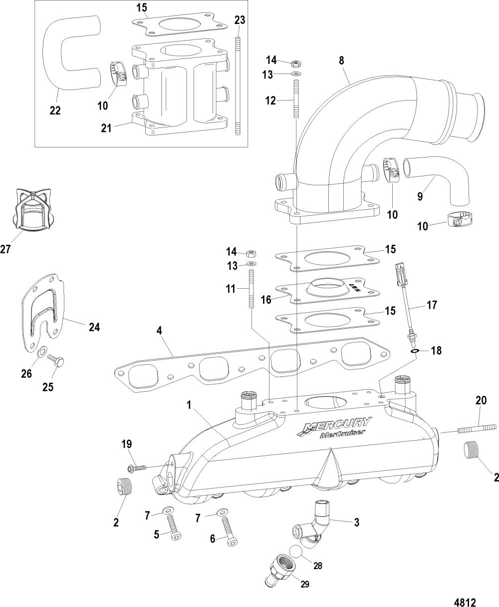 medium resolution of 496 mag base model serial 0m687083 thru 0w059999 exhaust manifold elbow and riser