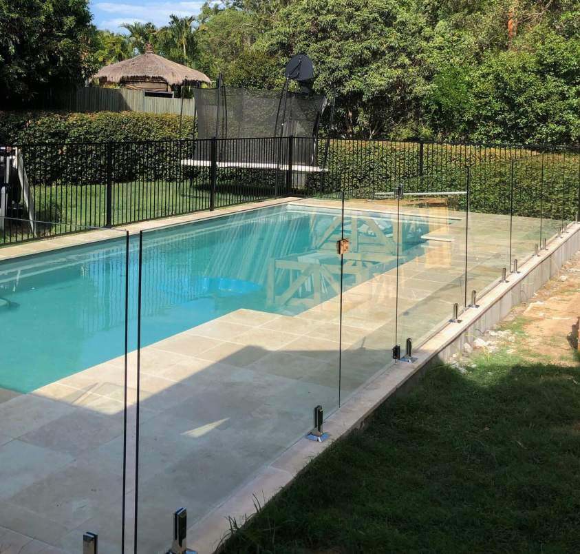 pool with frameless glass pool fence