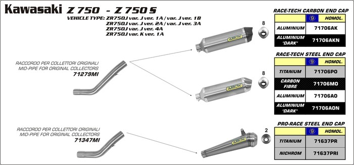Arrow Exhaust Kawasaki Arrow Z750 Z750S Z750R
