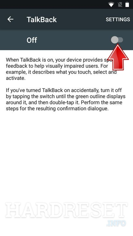 Talkback setting turn on button