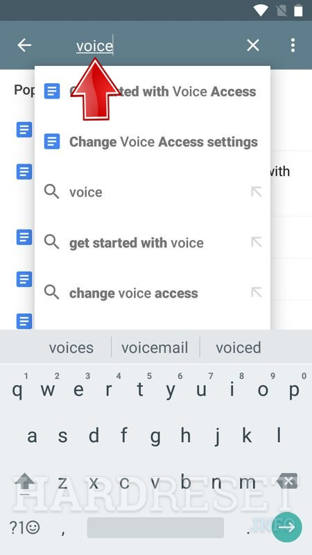 Use search field and write in it voice