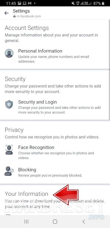 Messenger Choose Personal Information Tab