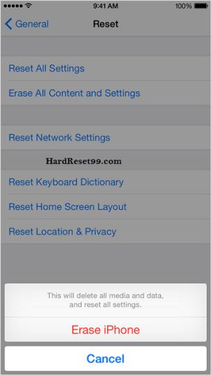 Apple erase everything option