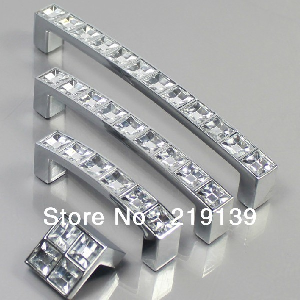 64mm Clear Crystal Zinc Alloy Cabinet Door Knobs And