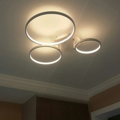 Kitchen Light Fixtures Flush Mount Green Mat Modern Ceiling Led Circle ...