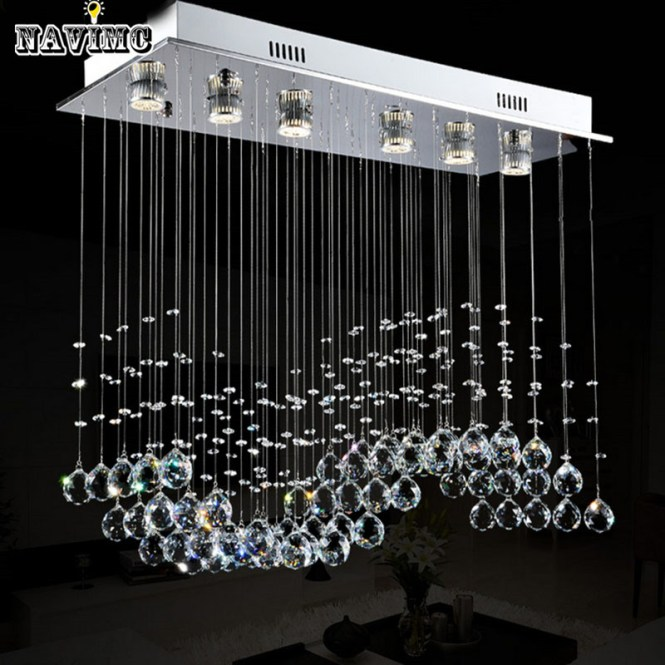 Modern Wave K9 Led Crystal Ball S Shade Hanging Fixture Rain Drop Curtain Chandelier Lamp Lighting