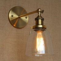 retro edison vintage loft single arm wall lamp glass shade