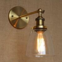 retro edison vintage loft single arm wall lamp glass shade ...
