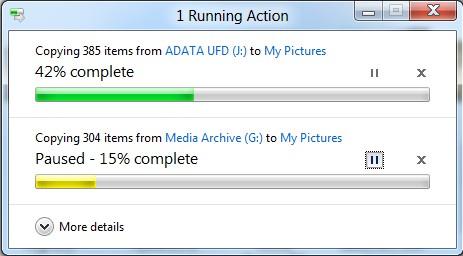 Nova janela de cópia no Windows 8, com uma cópia em pausa