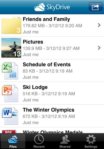 App do SkyDrive na App Store