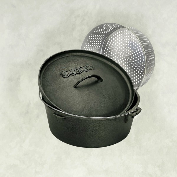 Bayou Classics 7460 Cast Iron Dutch Oven & Basket 8 1 2 Quarts Hardware World