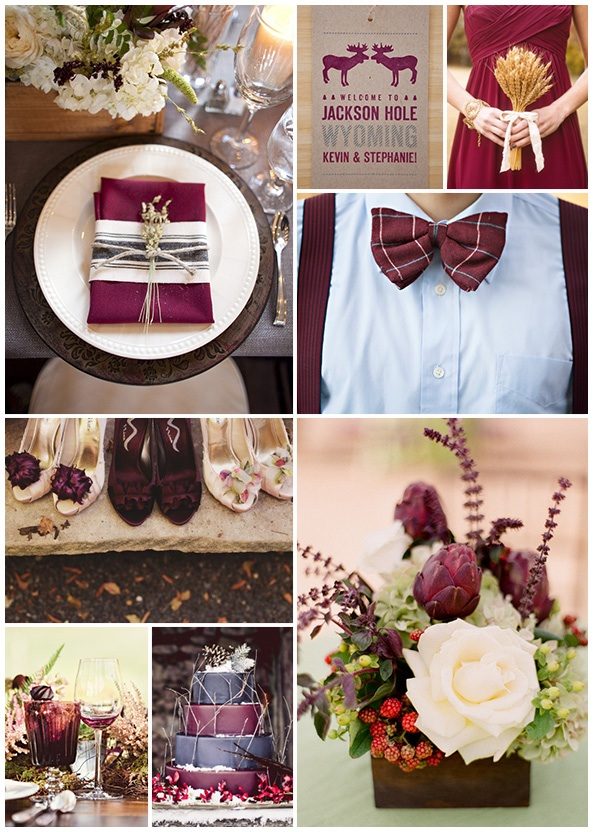 burgundy color inspiration for maine barn wedding