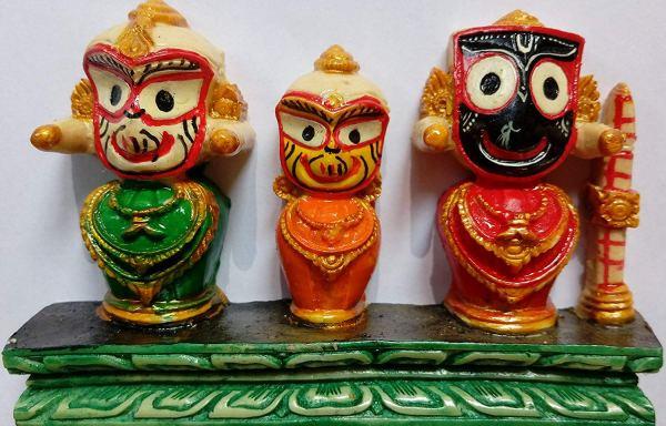 Jagannath, Balaram and Subhadra (Stone Statue) No 3 Stand 2.25 x 3.75 x 0.75 inches
