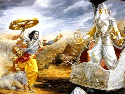 Bhisma confronts Krishna in battle