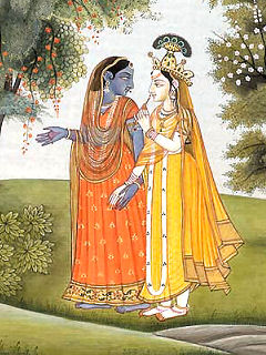 Radha and Krishna Dressed in Each Other's Clothes