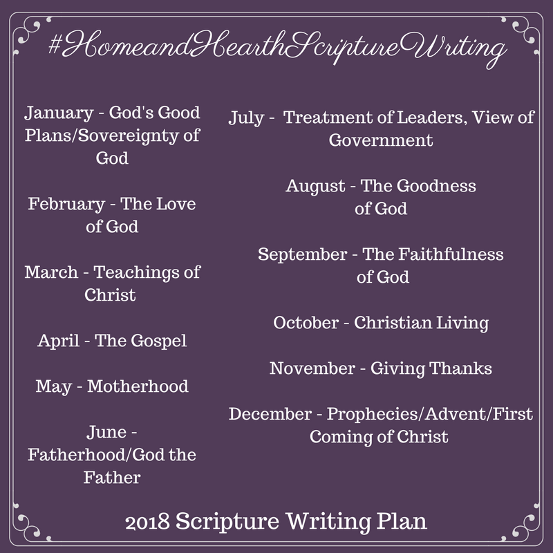 2018 Home and Hearth Scripture Writing Plan