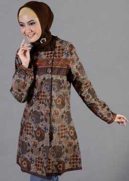 Baju Batik Muslim Wanita Warna Cokelat