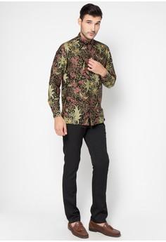 Model Baju Batik Muslim Pria Lengan Panjang Gaya Casual