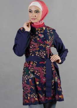 Model Baju Batik Muslim Wanita Gaya Formal