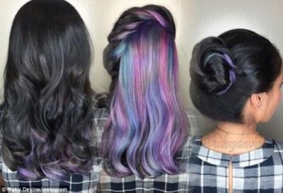 Warna Rambut Pelangi untuk Rambut Panjang