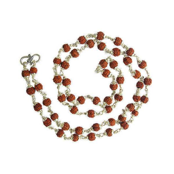 Rudraksha Mala 54+1 beads in Pure Silver Capping 1