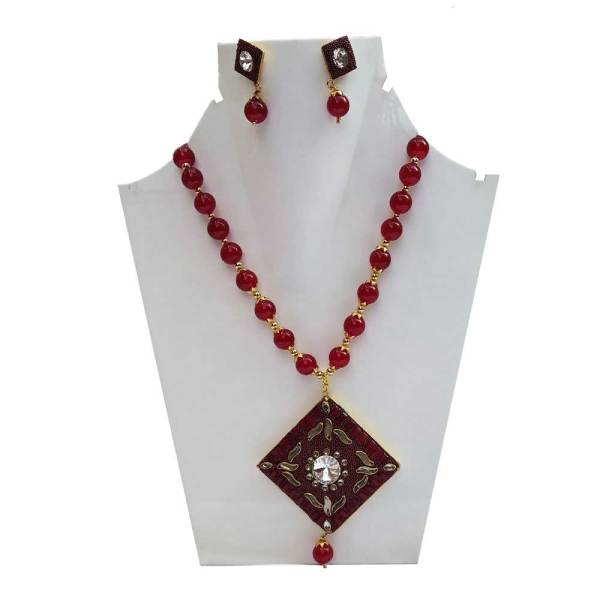 Antique Necklace of Red Color Stone