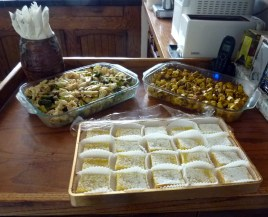 "Oven Roasted Vegetable ""Bata Yaki"", Savory Herb Baked Tofu, and Homemade Lemon Bars"