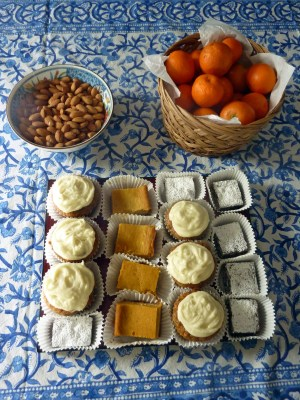 Homemade Carrot Cupcakes; Dark Chocolate-Chocolate Pecan Brownies, and Pumpkin Gooey Butter Cake