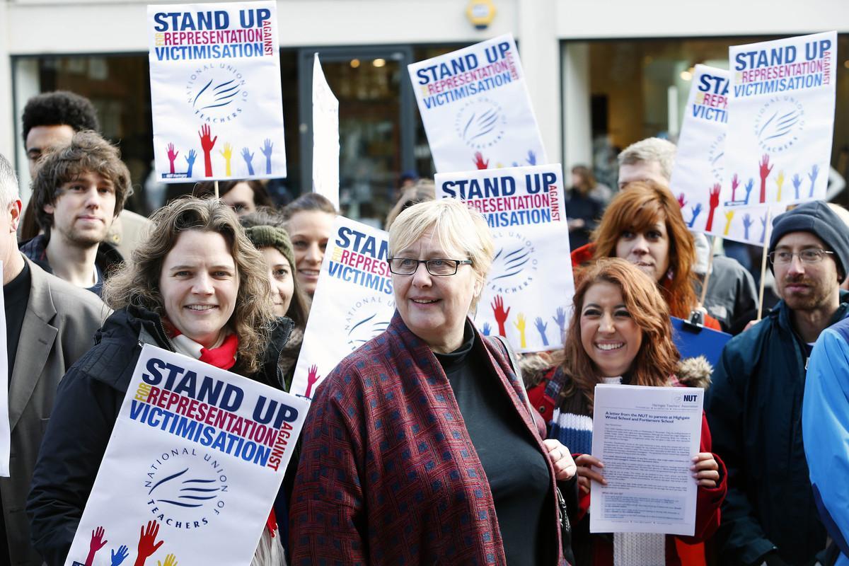 Julie Davies with striking teachers this morning