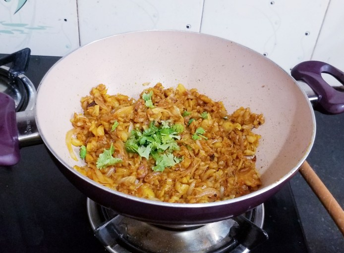 Adding coriander leaves good flavor to the pulao.