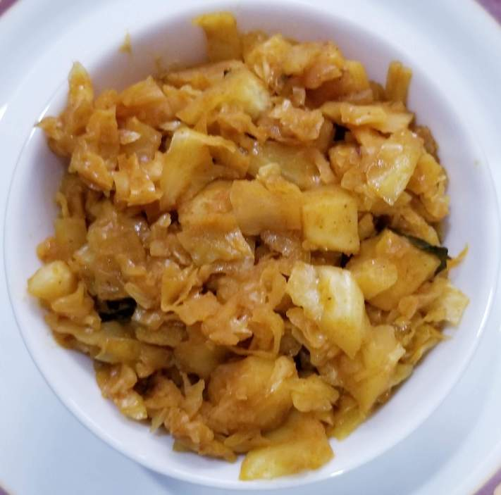 Cabbage sabzi is ready to serve hot.