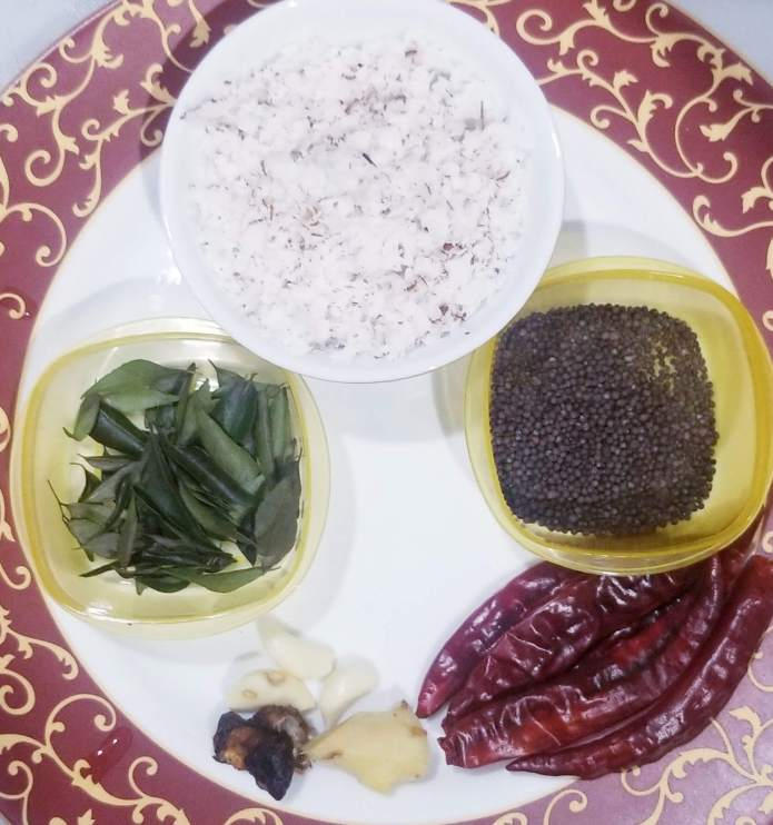 Ingredients for making Red Coconut Chutney.