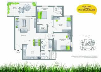 TOPIA בחריש - דירת 4 חדרים, קומות 2-6 מעל הכניסה העליונה
